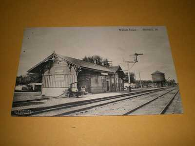 Old Town View Wabash Railroad Depot Sidney IL Illinois Train Station Postcard