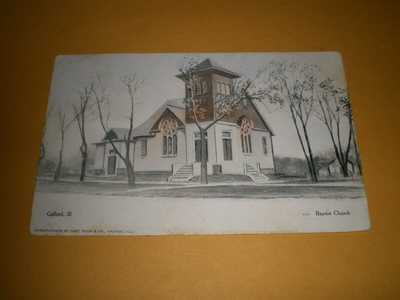 Old Town View Baptist Church Gifford IL Illinois Champaign County Postcard