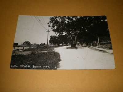 1920 RPPC View East Beach Biloxi Mississippi MS Photo Postcard