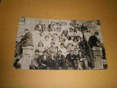 Old RPPC View School Young Men & Women Tolono IL Champaign County Photo Postcard