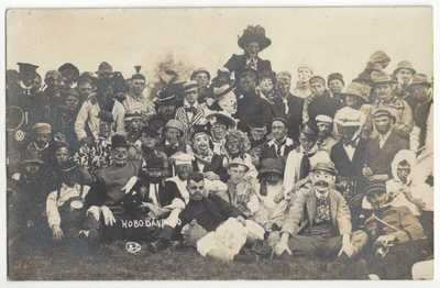 1909 University of Illinois Hobo Band - REAL PHOTO Champaign, Urbana Postcard