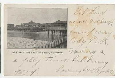 1907 REHOBOTH BEACH DE DELAWARE looking south from pier