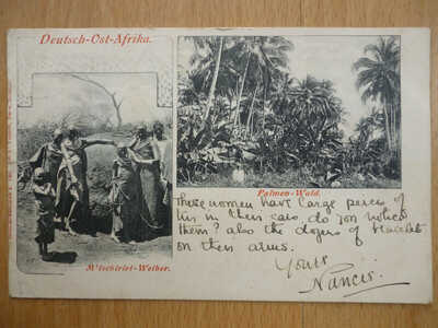 DEUTSCH OST AFRIKA POSTCARD POSTMARKED FIFE & FORT JAMESON NORTHEN RHODESIA 1904