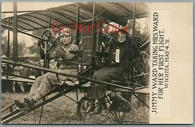 1911 AVIATION PILOT JIMMY WARD & MRS ON HER FIRST FLIGHT IN WICHITA KANSAS RPPC