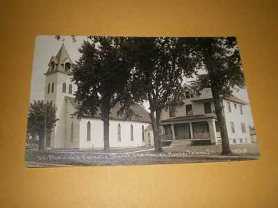 RPPC St Patrick's Church & Parish Tolono IL CR Childs Champaign County Postcard