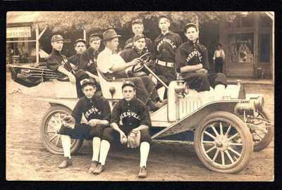GA. RPPC OF A BASEBALL TEAM IN A OLD AUTOMOBILE. GREENVILLE, GEORGIA 1909