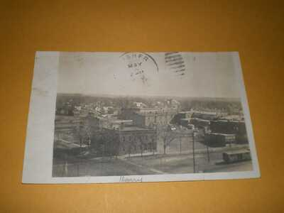 1908 RPPC Birds Eye View City of Rantoul IL Illinois Champaign County Postcard