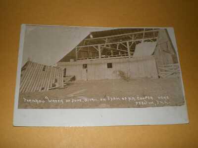 1911 RPPC Pesotum Illinois Champaign County Postcard 1 Tornado Wreck Cooper Farm