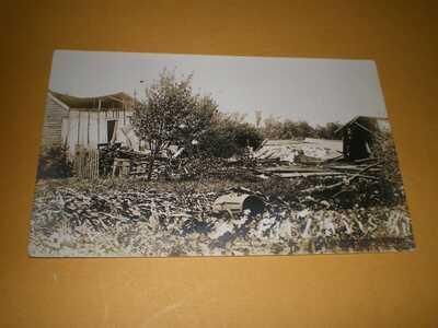 1911 RPPC Pesotum Illinois Champaign County Postcard 2 Tornado Wreck Davis House