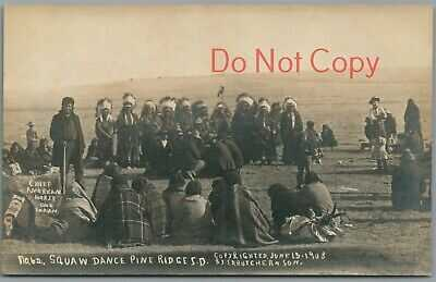 CHIEF AMER. HORSE ~ SQUAW DANCE ~ PINE RIDGE, SD~ S.D. BUTCHER, NE RPPC POSTCARD