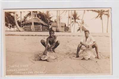 VINTAGE POSTCARD TURTLE RIDES  TORRES STRAIT THURSDAY ISLAND QUEENSLAND  1900s