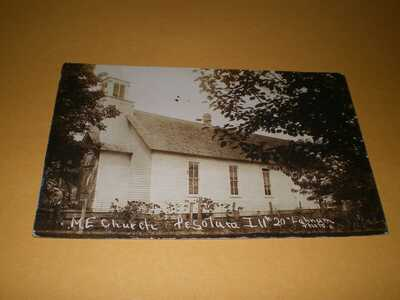 Old RPPC M.E. Church Pesotum Illinois Champaign County Lahnum Photo Postcard