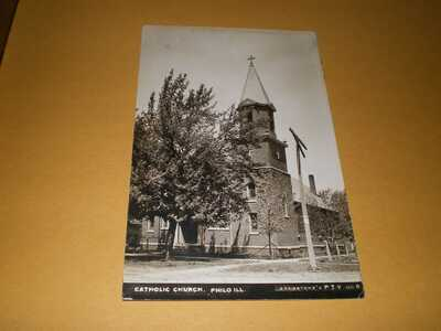 Old RPPC Catholic Church Philo IL Illinois Champaign County Bregstone's Postcard