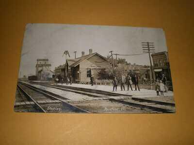 RPPC Rantoul IL Champaign County Illinois Central Railroad Depot #2 Postcard
