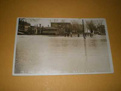 1913 RPPC Town View Flood Sidney IL Champaign County Illinois Photo Postcard