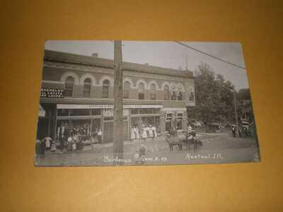 1910 RPPC Town View Barbecue Rantoul IL Champaign County Illinois Photo Postcard