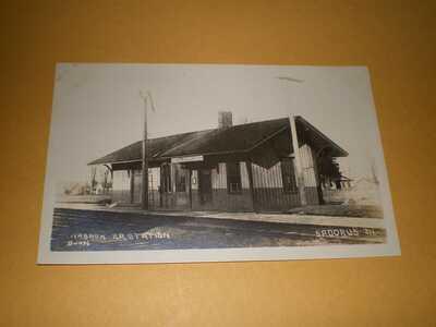 RPPC Wabash Railroad Station Depot Champaign County Sadorus IL Illinois Postcard
