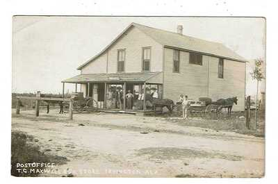 RPPC  Irvington, AL  Post Office and T. G. Maxwell Store  Posted 1913 to Chicago