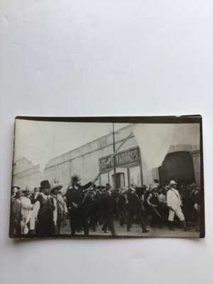 Armed Citizens Marching: Mexican Revolution Postcard (RPPC) Puebla, Mexico