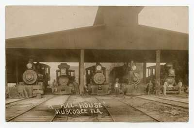 Vintage RPPC.....Rare Card.....5 Locos In Maintenance Shed....Muscogee, Fl