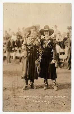 real photo Rodeo Cowgirl Dorothy Morrell And Bonnie McCarroll mailed 1921 RPPC