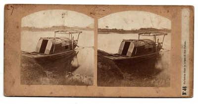 1859 SHANGHAI SOOCHOW Creek sampan / boat Louis Legrand Stereoview PHOTO CHINA