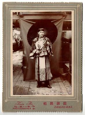 Old Cabinet Photo SHANGHAI Kain Ho Western Man Chinese dress CHINA ship umbrella