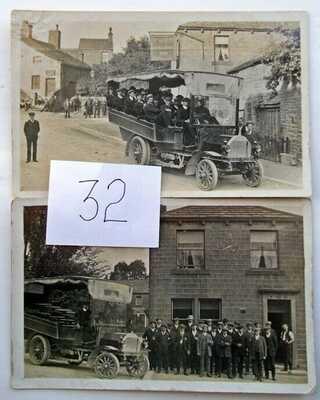 SUTTON IN CRAVEN, KING'S ARMS INN BUS TRIP 1910 original postcards x2 (32)