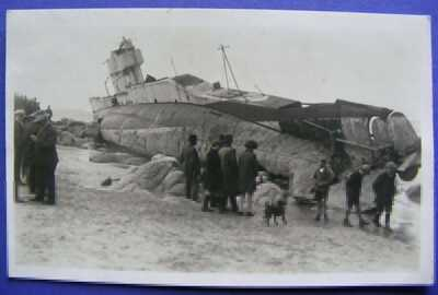 RP Cornwall Postcard - Submarine L1 Wrecked Porth Nanven Cape Cornwall, Hawke