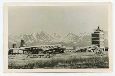 ANCHORAGE, Alaska ~ International Airport ~ 1957 RPPC postcard