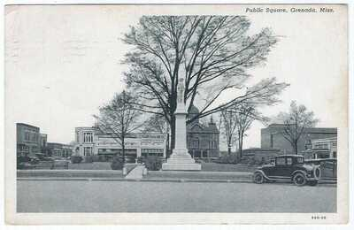 Grenada,Mississippi,MS 1930 Public Sq street photo postcard confederate monument