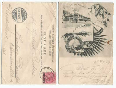 SINGAPORE 1898 Multiview pre-cursor PC, sent frm Singapore to Germany @4c rate