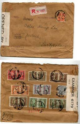 1942 SHANGHAI Registered Letter to Switzerland Stampex Censorship stamps CHINA