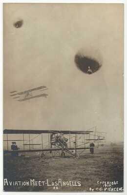 1910 Los Angeles, California Aviation Meet - REAL PHOTO Airplane, Old Postcard