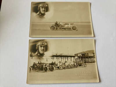 2 RPPC Antique Auto Racing Race Car White City Old Orchard Maine Beach Photo