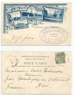 SINGAPORE 1900 Greetings 4-view pre-cursor PC, to France @1c rate    Raffles cxl