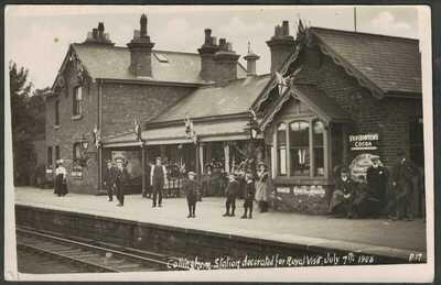 ROYAL VISIT 1908, RAILWAY STATION, COLLINGHAM nr. LEEDS, WEST YORKSHIRE, RP.