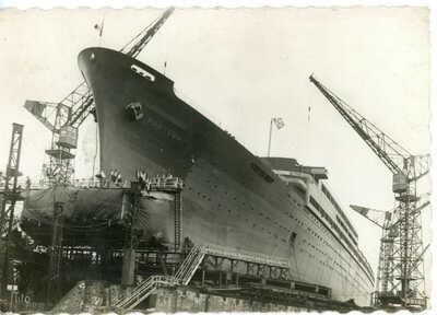 Cie Sud-Atlantique's prewar flagship PASTEUR of 1939 on the stocks - RARE!!!!