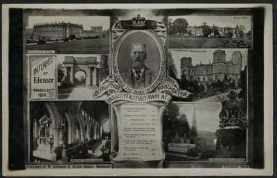 POSTCARD, WARNER GOTHARD, 1908, DUKE OF DEVONSHIRE DEATH, EDENSOR, DERBYSHIRE.