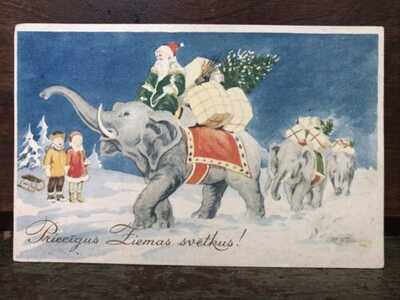 Vintage Old World Xmas Santa Postcard Green Coat Red Cap Elephants Gifts