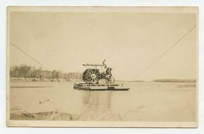Steam engine on ferry crossing Yellowstone River ~ c. 1910 RPPC postcard