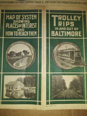 RARE 1910 United Railways Baltimore Trolley Map