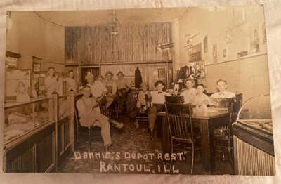 Dennis's Rest Depot Bar Restaurant Rantoul IL C1910 Champaign County Postcard