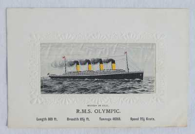 ORIGINAL White Star Line R.M.S. OLYMPIC 'Woven In Silk' Postcard - Unused