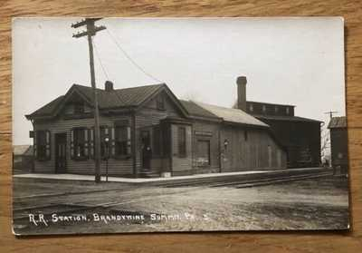 Brandywine Summit, PA 1910 RPPC Postcard Railroad Station Depot Chadds Ford