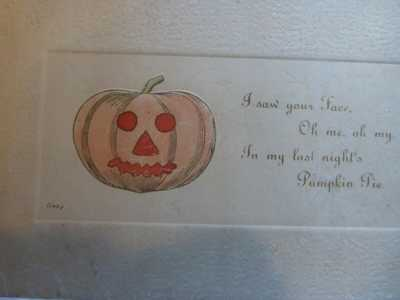 Halloween Postcard-by Franz Huld-Unique Pumpkin Face & Poem-Vintage & Scarce
