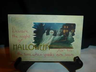 Vintage Halloween Postcard-Fantastic Ghosts in Haunted House -Very Hard-To-Find