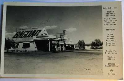 rppc 1948 - BAGDAD CALIFORNIA CAFE GAS STATION GHOST TOWN - Rte. 66