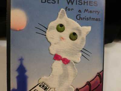 Fabulous Vintage RARE White FELT Cat  Postcard Christmas/ Halloween Black Cats