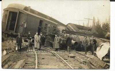 RPPC Train Wreck Clarion (Walloon Lake area) Michigan, Leavenworth photo, c1910